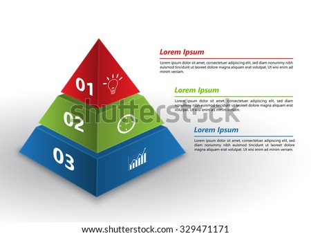 Colored Pyramid 3D with Number and Business Icon, Text Information, 3 Options, Financial and Business Infographic, Vector Illustration