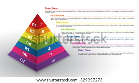 colored pyramid 3d with number