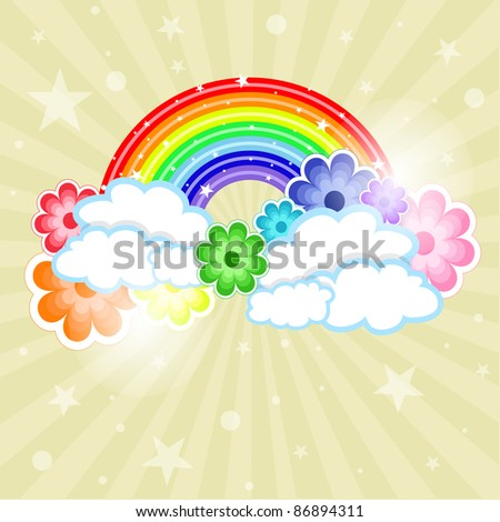 Colored rainbow with flowers EPS 10 - stock vector
