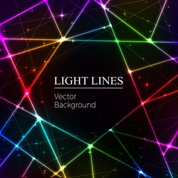 Colored  random laser beams on dark background. Place for your text. Vector illustration.