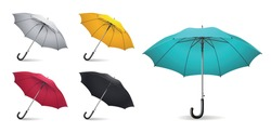 Colored realistic umbrella icon set with different sizes and colors white yellow red black and light blue vector illustration