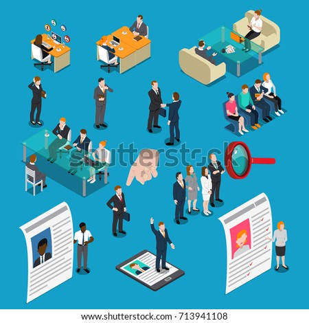 Colored recruitment hiring HR management isometric people icon set with potential workers are interviewed vector illustration