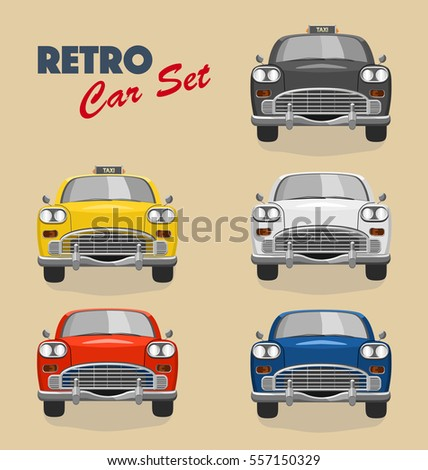 colored retro car set . black ...