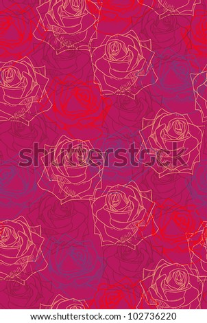 Colored roses on dark red background. Seamless pattern.