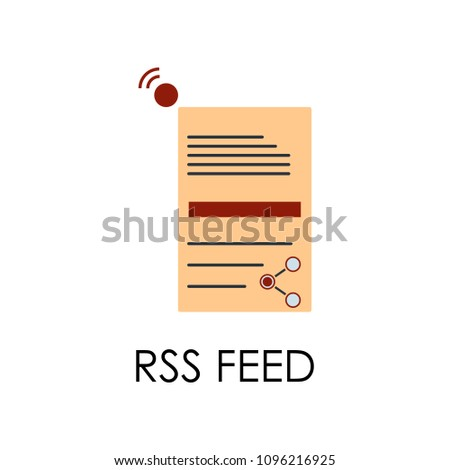 colored rss feed illustration. Element of marketing and business flat for mobile concept and web apps. Isolated rss feed flat can be used for web and mobile on white background