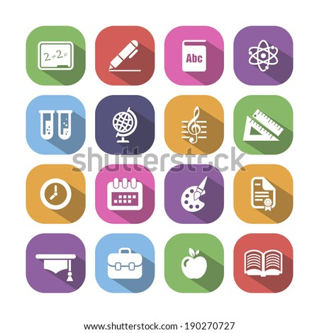Colored school and education icons with shadow, vector.