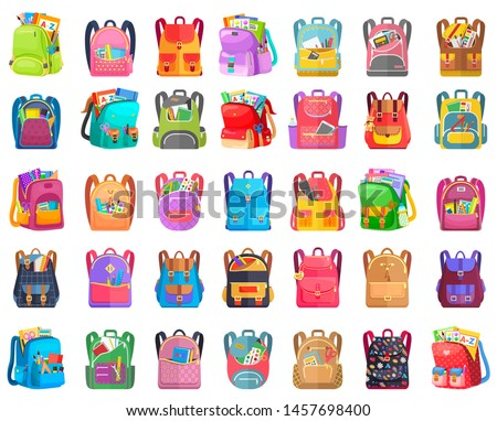 Colored school backpack. Education and study back to school, schoolbag luggage, rucksack vector illustration. Kids school bag with education equipment. Backpacks with study supplies. Student satchels