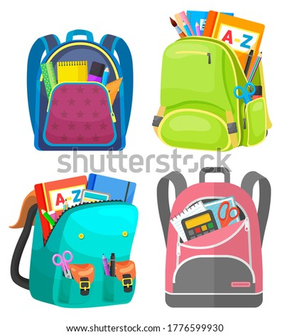 Colored school backpack. Education and study back to school, schoolbag luggage, rucksack vector illustration. Kids school bag with education equipment. Backpacks with study supplies. Student satchels Stockfoto ©