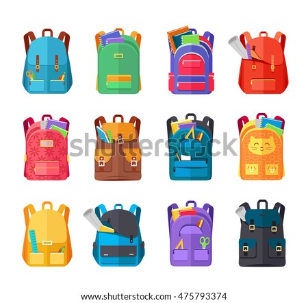 Shutterstock Colored school backpacks set. Backpacks with school supplies, notebooks, pencils, pens, rulers, scissors, paper. Education and study back to school, schoolbag luggage, rucksack vector illustration
