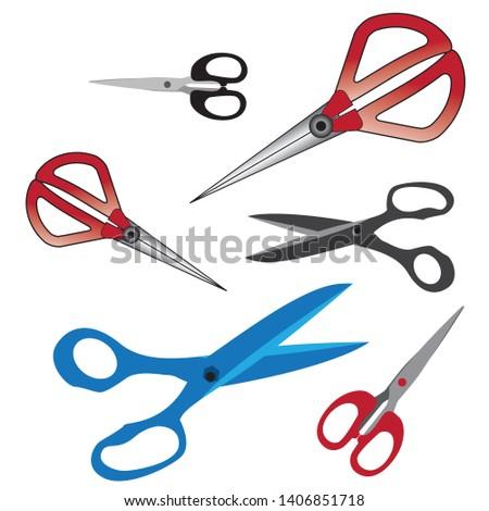 colored scissors, scissors vector, cloth scissors