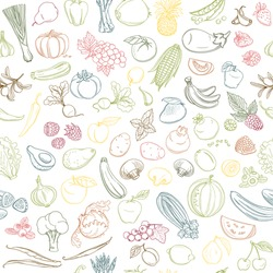 Colored Seamless background pattern of organic farm fresh fruits and vegetables. Vector illustration. Outline line flat style design. White backdrop.