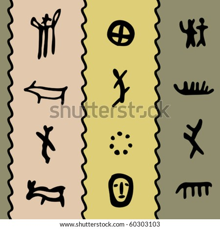 colored seamless texture with petroglyphs vector illustration