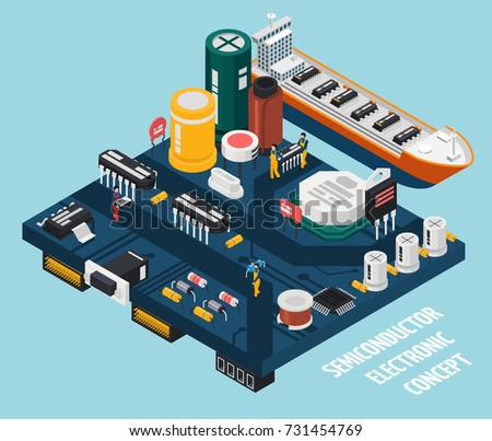 Colored semiconductor electronic components isometric seaport composition with floats by the sea vector illustration