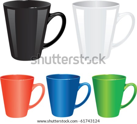 colored set cups vector illustration