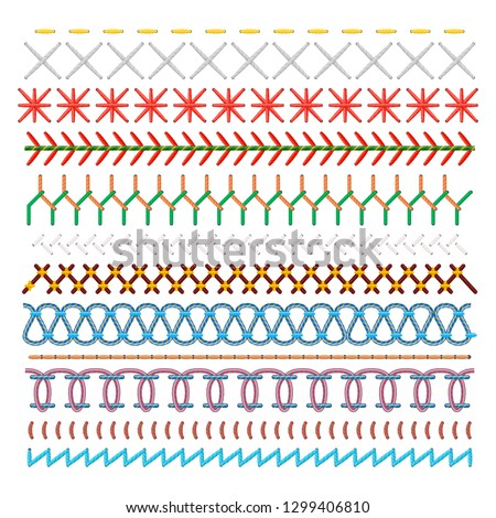 Colored sewing stitches set, pattern in lines. Fabric or material, embroidery emblems. Vector flat style cartoon illustration isolated on white background