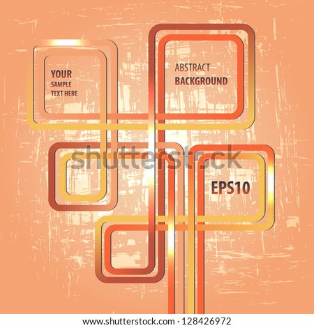 Colored shiny lines on grunge abstract orange background