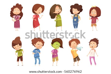 Colored Sickness Child Retro Cartoon Icon Set With Girls And Boys Different Degree Of Disease Vector