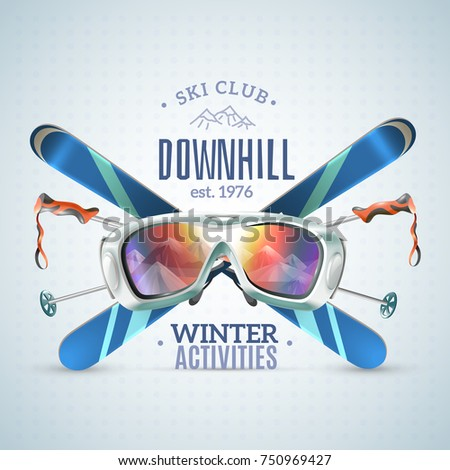 colored ski club poster with