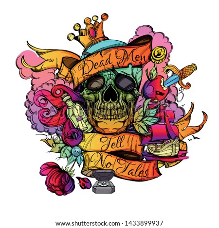 colored skull with with the