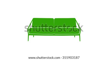 colored sofa icon lime green on