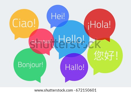 Colored speech bubbles with the text Hello in different languages. English, German, French, Spanish, Japanese, Chinese, Finnish, Italian. Vector illustration. Light background. Eps10.