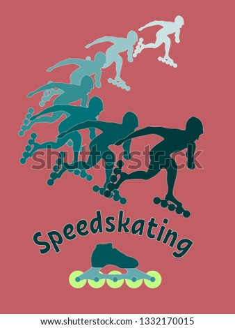 Colored speedskating emblem with sportsmen silhouettes, inscription and a skate on warm pink background.