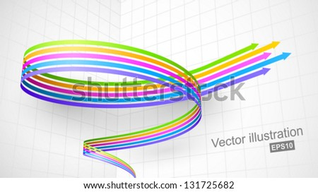 colored spiral arrow 3d