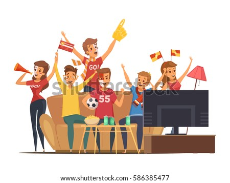 Colored sport fans watching tv on couch composition people with flags make up vector illustration
