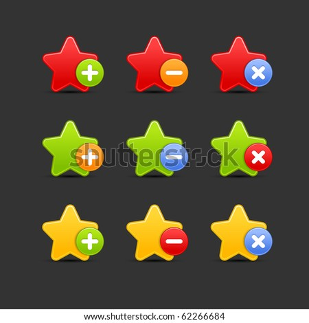 Colored star favorite icon web 2.0 button with shadow on gray background. 10 eps