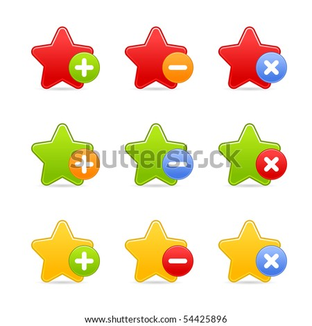 Colored star favorite web 2.0 button with shadow on white background