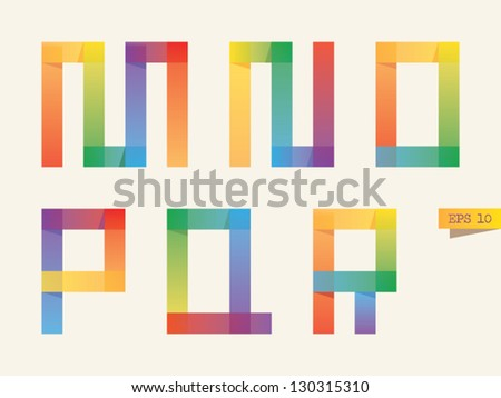 Colored sticky notes alphabet with rainbow colors. M, N, O, P, Q, R letters. Gradient version.