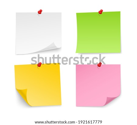 Colored sticky notes paper with push pin. Blank paper sheets for note. Front view. Realistic paper stickers for your message. Vector illustration.