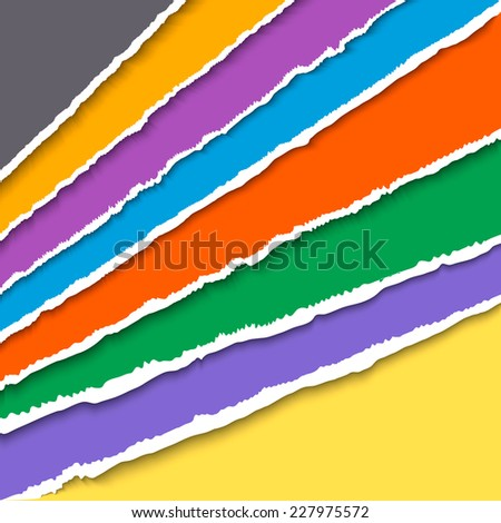 Colored torn paper corner sheets. Vector EPS10 illustration. Design elements - multi colored torn paper with ripped edges