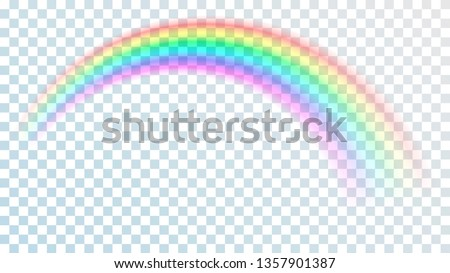 Colored transparent rainbow. Vector illustration. Perspective diagonal view. Multicoloured circular arc. Beautiful meteorological phenom occurring after rain. Fantasy symbol of good luck.