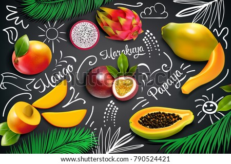 colored tropical fruits