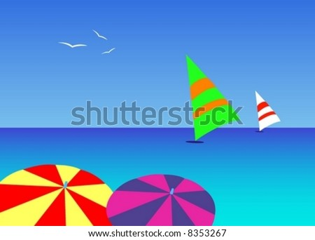colored umbrella beach sea relax travel exotic vacation background banner sails windsurfing recreation sport