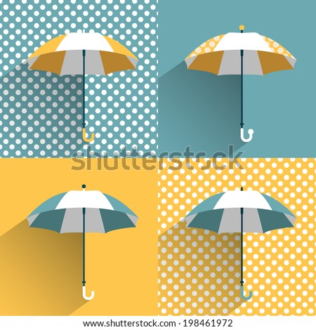 colored umbrellas flat vector