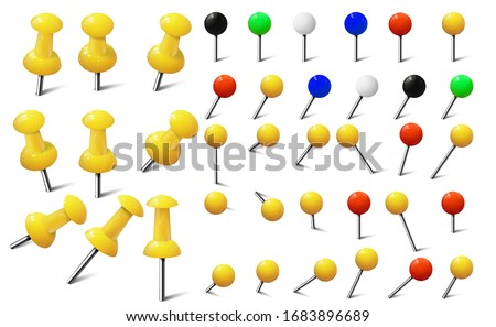 Colored various pushpins, map tacks and pins. Set of colorful push pins in different foreshortening.  Photo stock ©