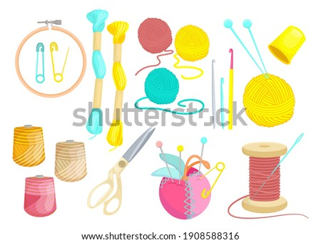 Colored various threads for sewing flat set for web design. Cartoon weaving wool, yarn, clew and needles isolated vector illustration collection. Hobby and knitting concept Stockfoto ©