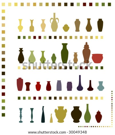 colored vases - stock vector