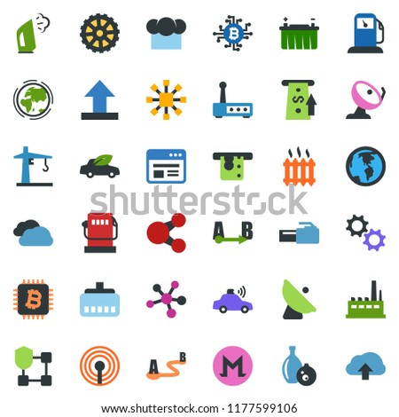 Stock Photo colored vector icon set - antenna vector, bitcoin chip, molecule, blockchain shield, cube, steaming, ladder, gas station, earth, battery, factory, gear, tower crane, eco car, unmanned, satellite