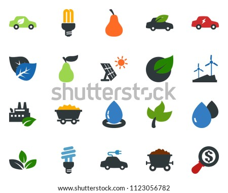 colored vector icon set - leaf vector, pear, sun panel, mine trolley, windmill, eco factory, water drop, bulb, car, electric, money search #1123056782