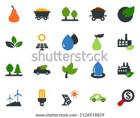 colored vector icon set - leaf vector, pear, sun panel, mine trolley, windmill, forest, eco factory, water drop, bulb, car, money search #1126918829