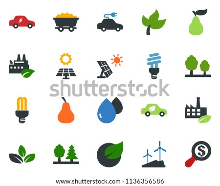 colored vector icon set - leaf vector, pear, sun panel, mine trolley, windmill, forest, eco factory, water drop, bulb, car, electric, money search #1136356586