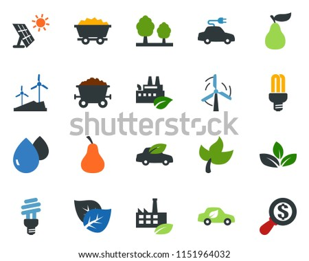 colored vector icon set - leaf vector, pear, sun panel, mine trolley, windmill, forest, eco factory, water drop, bulb, car, electric, money search #1151964032
