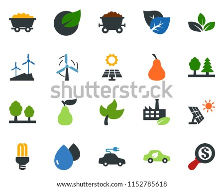 colored vector icon set - leaf vector, pear, sun panel, mine trolley, windmill, forest, eco factory, water drop, bulb, car, electric, money search #1152785618