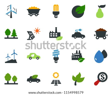 colored vector icon set - leaf vector, pear, sun panel, mine trolley, windmill, forest, eco factory, water drop, bulb, car, electric, money search #1154998579