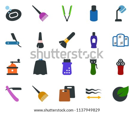 colored vector icon set   razor