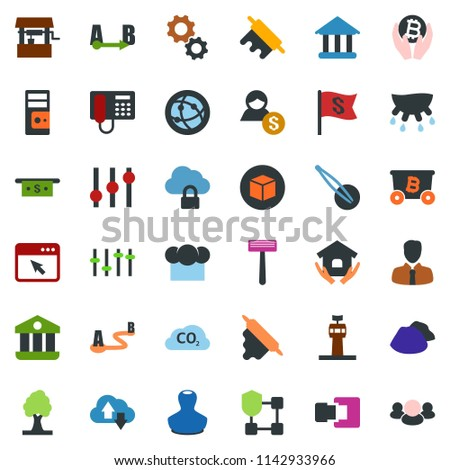 Stock Photo colored vector icon set - udder vector, airport tower, stamp, razor, phone, tweezers, mining, bitcoin palm, blockchain shield, cube, house hold, garbage pile, ladder, saw, tree, well, co2, client