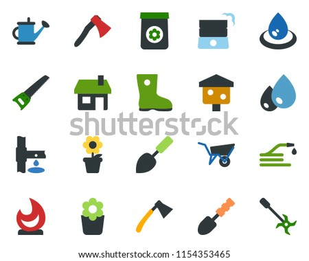 Stock Photo colored vector icon set - well vector, flower in pot, trowel, watering can, wheelbarrow, boot, saw, fire, house, water drop, hose, axe, bird, fertilizer, drip irrigation, ripper